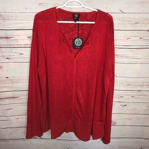 Bobeau Red Layered look Tunic Top Size 2X NWT